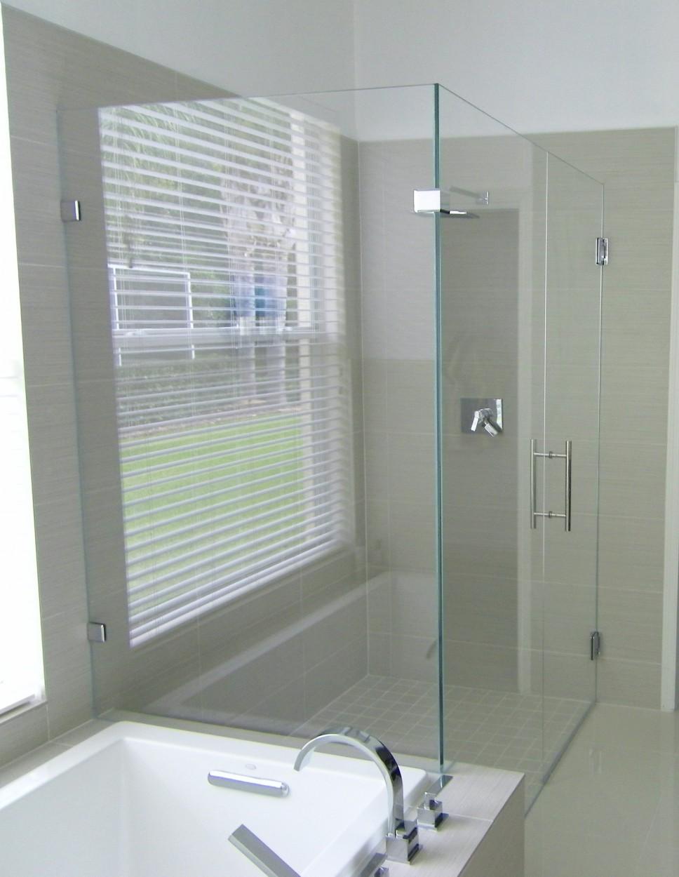 90 Corner Glass To Glass Shower Enclosure Allservices Frameless