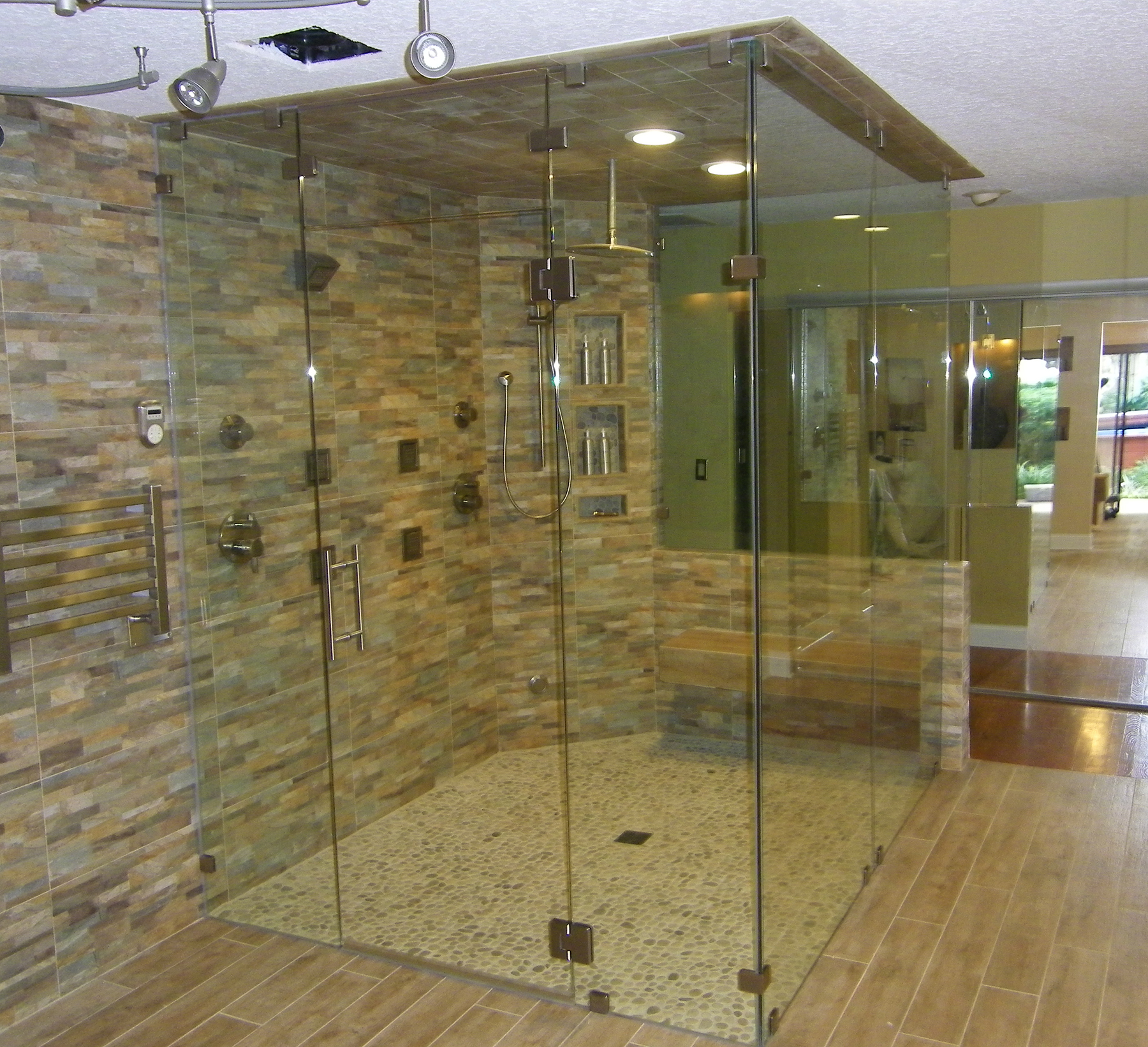 Steam Enclosure,w/ Movable Transom - Allservices Frameless Glass Company